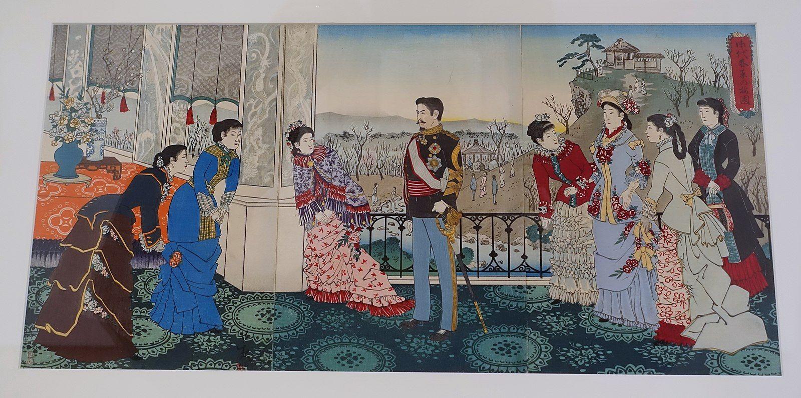 Emperor Meiji and his Consort in the Plum Garden, by Kobayashi Kiyochika, Japan, Meiji period, 1887 AD